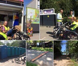 Foto vrijwilligers van de Belanengroep Gehandcapten Haarlemmermeer samen met medewerkers van de gemeente een schouw gehouden op evenementen terrein van waarop Mysteryland word georganiseerd.