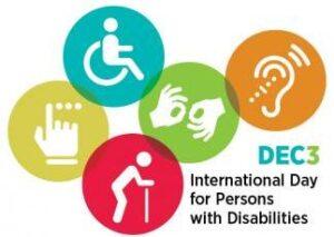 Hier Logo Dag voor Mensen met een Beperking' International Day of Persons with Disabilities.